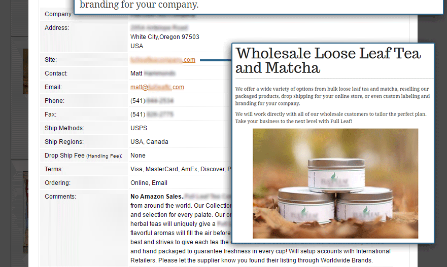 Worldwide Brands wholesaler directory results for matcha tea part 3