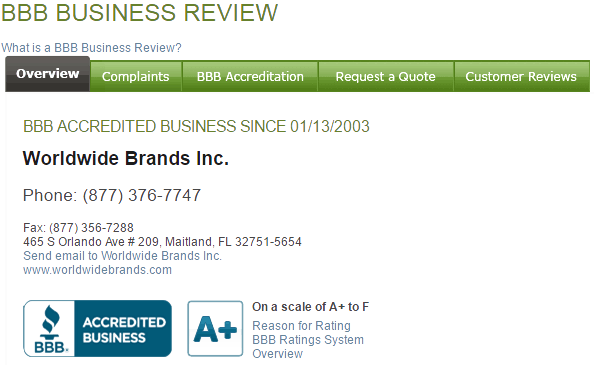 Worldwide Brands has been a BBB Accredited Business since January 13, 2003 with an A+ rating